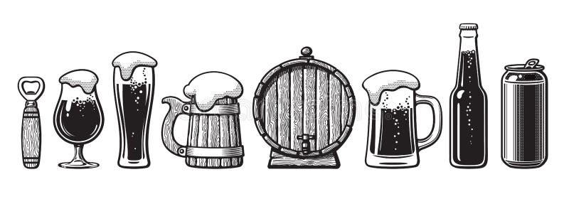 套啤酒对象 瓶盖启子,玻璃,老木杯子,桶,罐头 也corel凹道例证向量 向量例证
