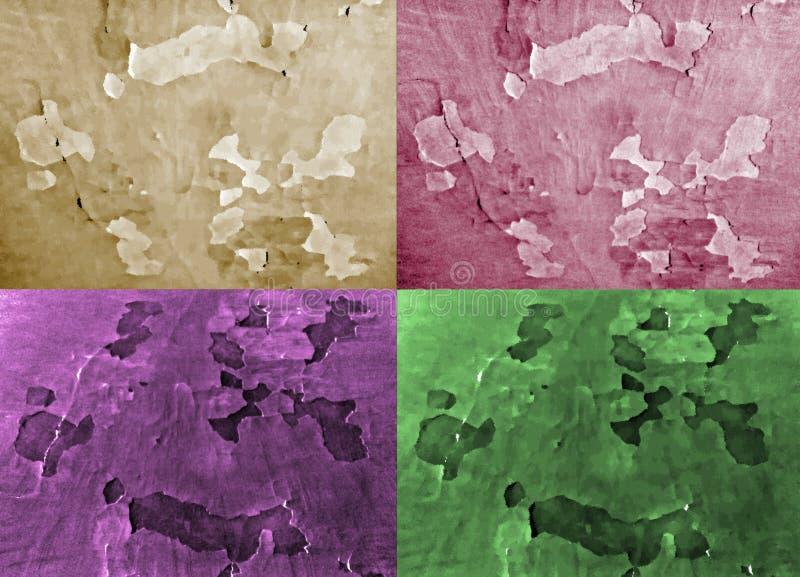 套四不同的颜色背景  作用被绘的纸 向量例证