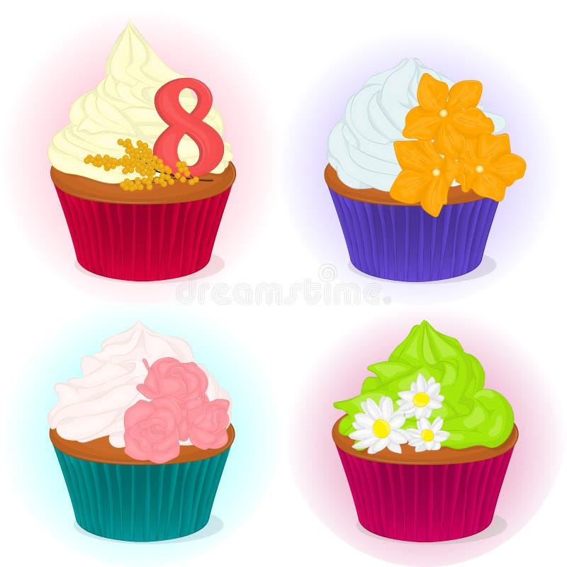套四不同美味的杯形蛋糕为与花的国际妇女` s天您的在动画片样式的设计的 向量 向量例证