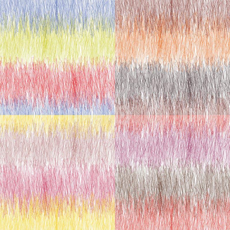 套四与五颜六色的水平的难看的东西条纹的无缝的样式 库存例证