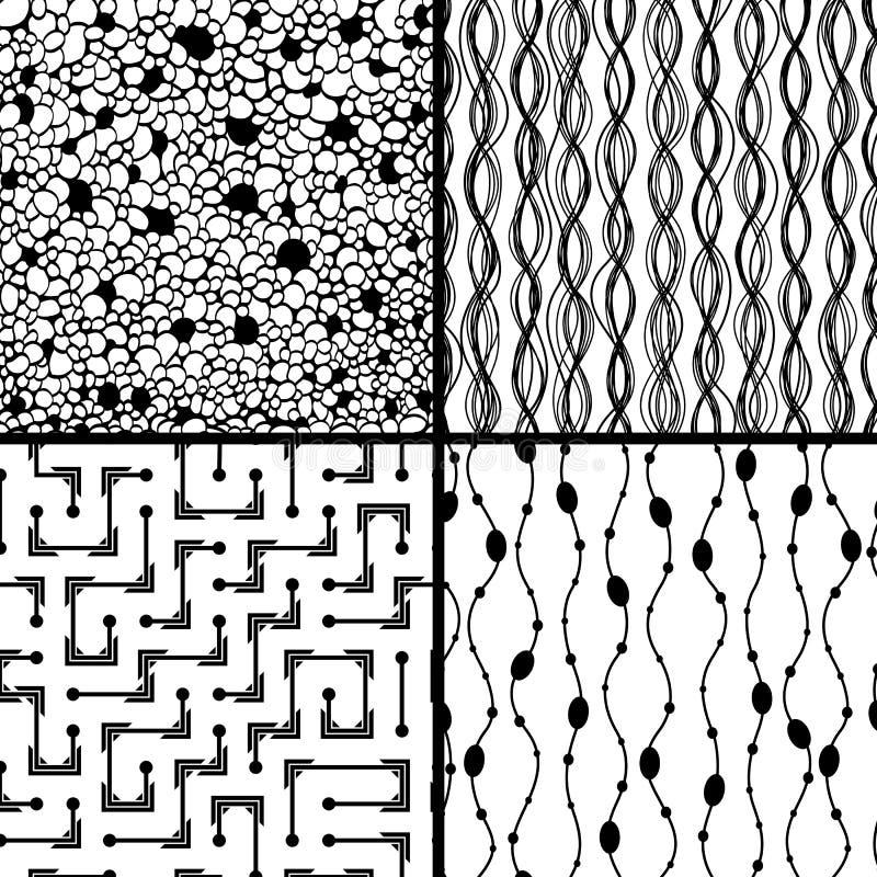 套四个单色几何模式 皇族释放例证