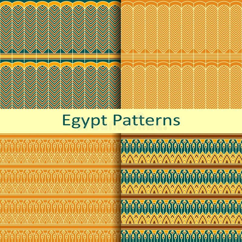 套四个埃及传统色的样式 库存例证