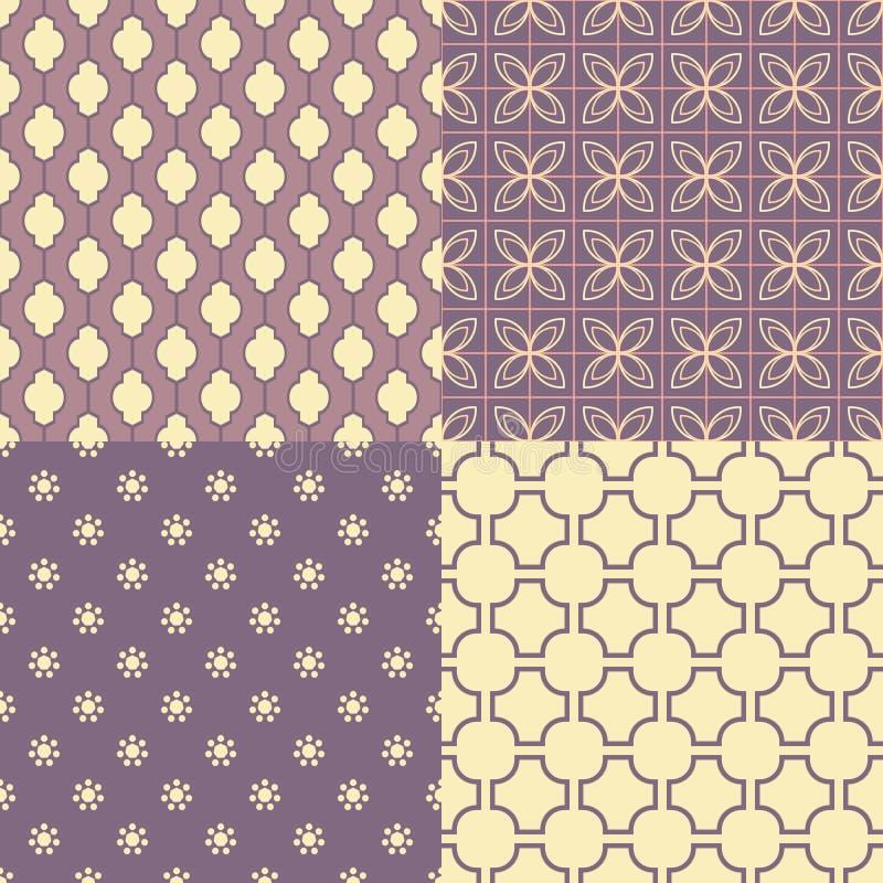 套四个无缝的抽象样式 库存例证