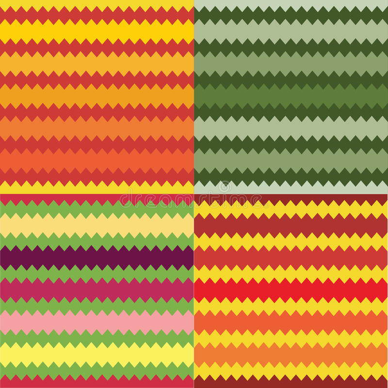 套四个无缝的镶边几何样式 向量例证