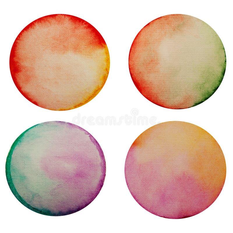 套四个水彩被绘的圈子 库存图片