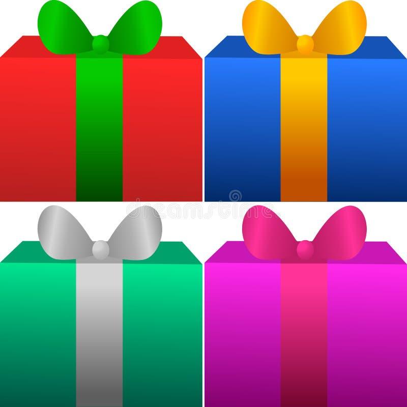 套四个礼物盒 免版税库存图片