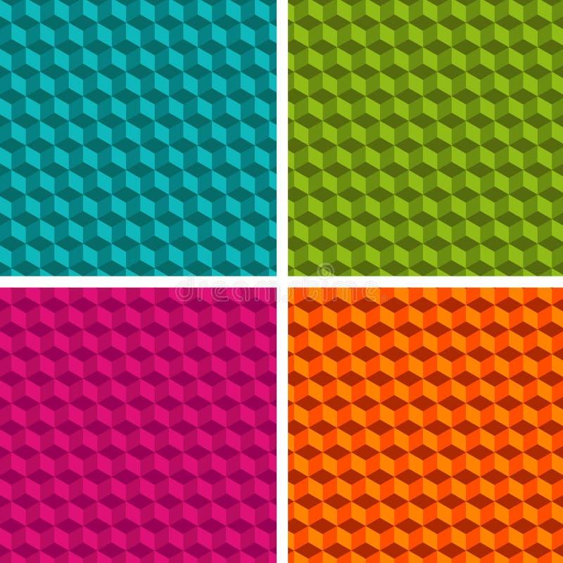 套四个立方体样式 不同的抽象样式的汇集 向量例证