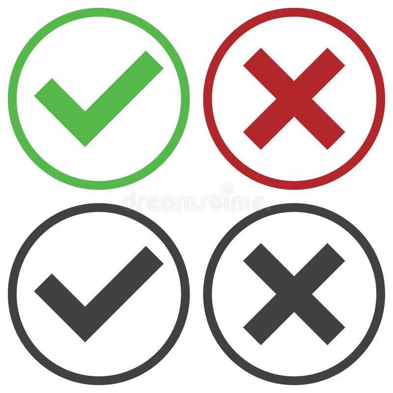 套四个简单的网按钮:绿色校验标志和红十字在两个变形 库存例证