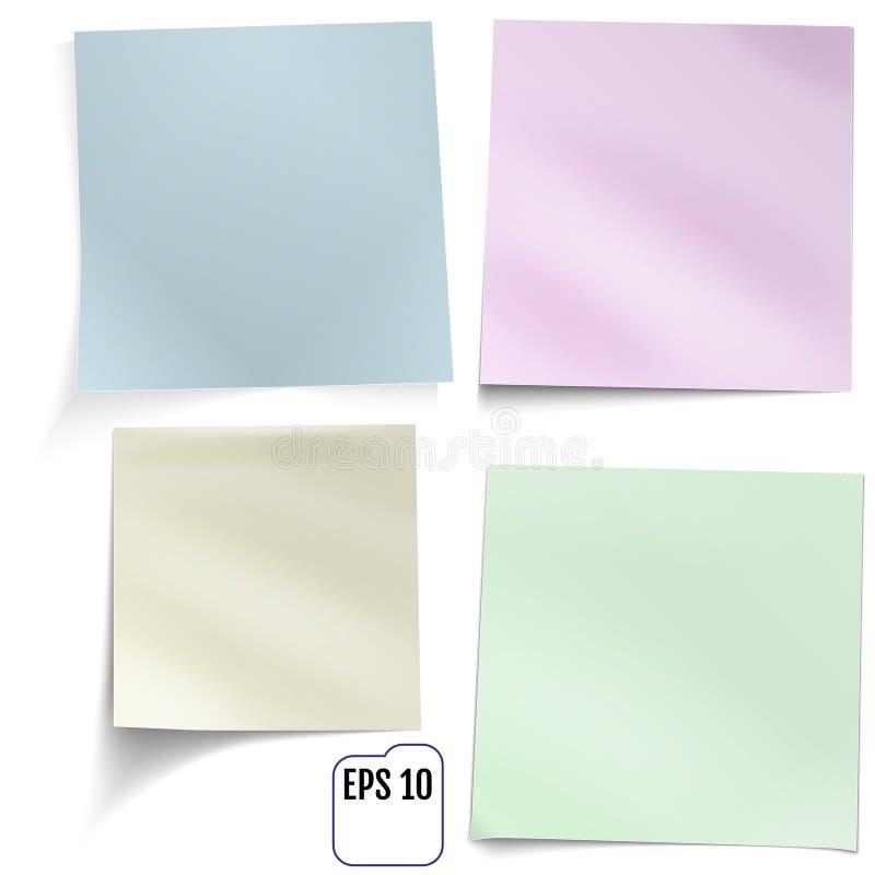 套四个色的贴纸 库存例证
