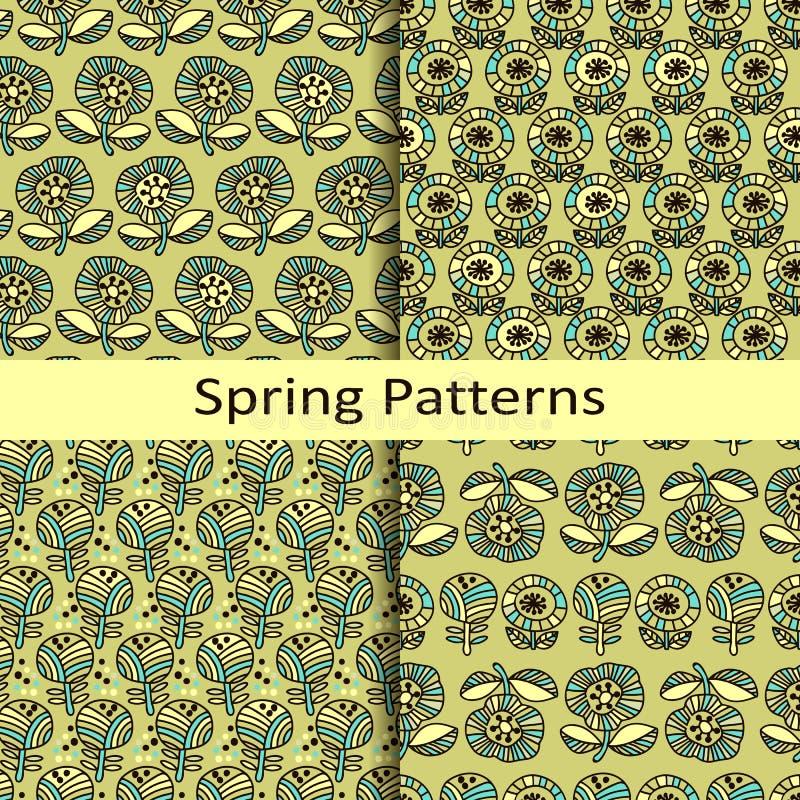 套四个花卉手拉的春天样式 皇族释放例证