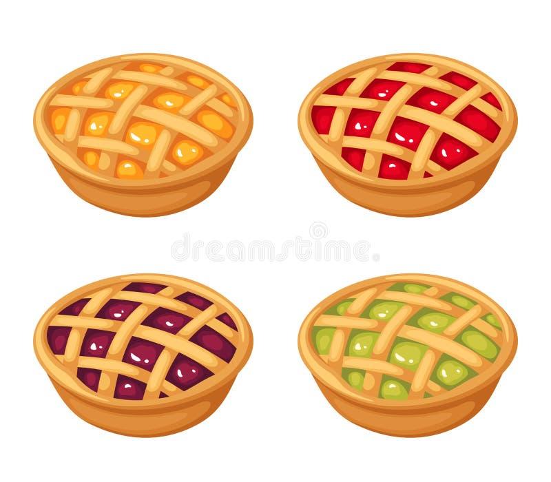 套四个莓果碎屑饼 也corel凹道例证向量 皇族释放例证