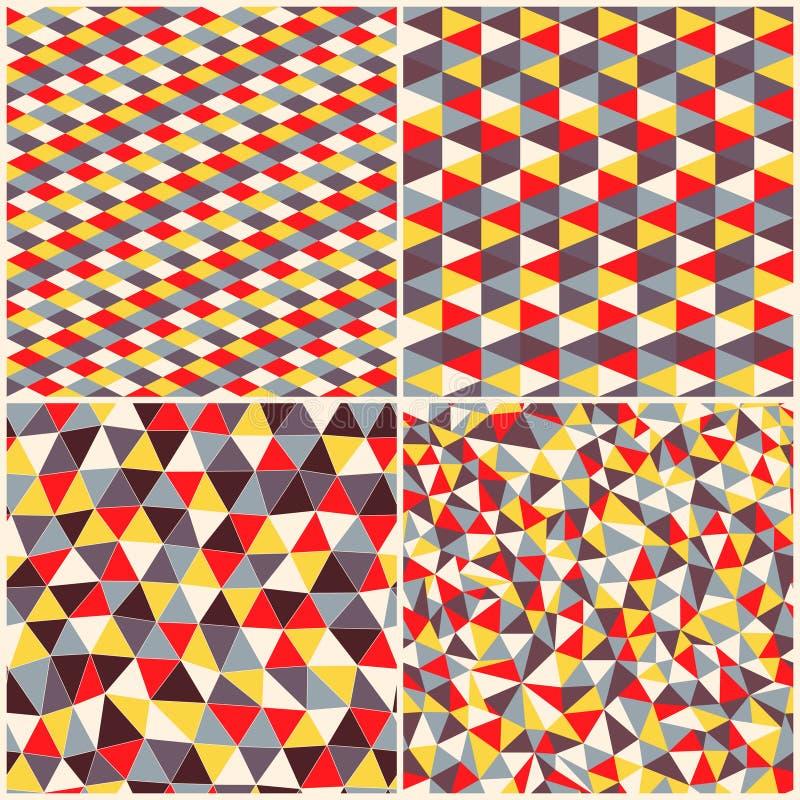 套四几何样式 与三角, rhombs的纹理 Mo 向量例证
