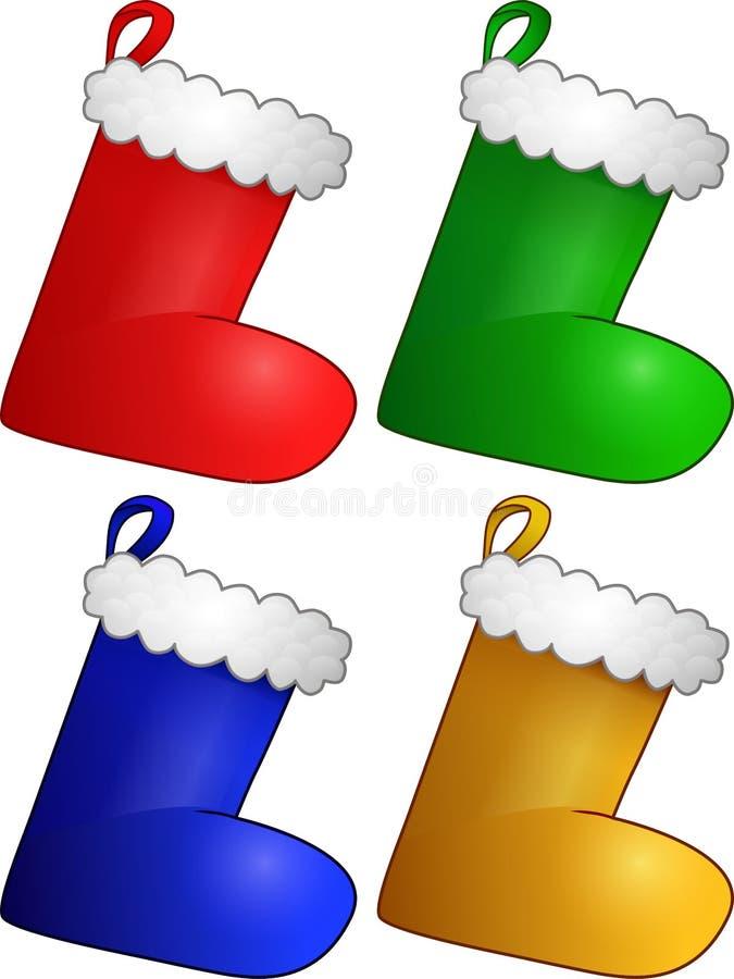 套四只圣诞节长袜 库存照片
