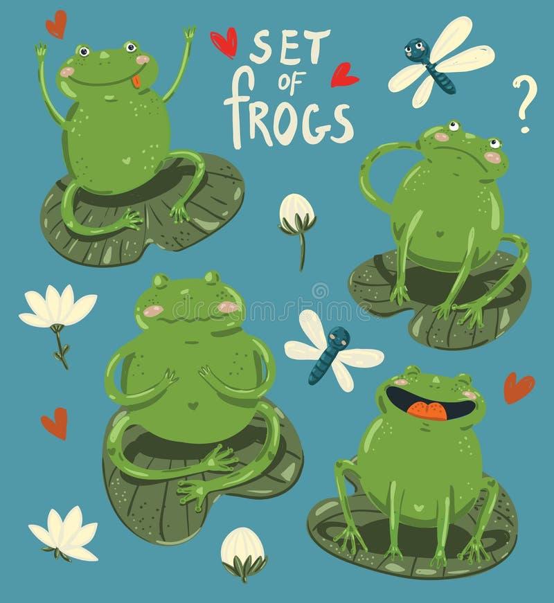 套四只在动画片样式的逗人喜爱的青蛙手凹道 向量例证