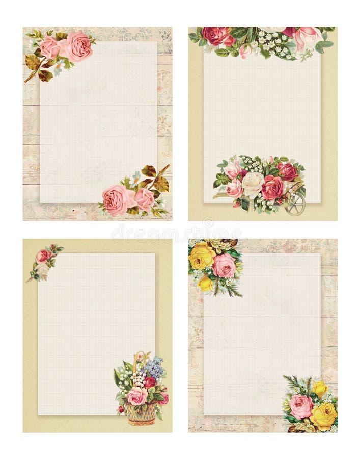 套四可印的葡萄酒破旧的别致的样式花卉玫瑰固定式在木头和纸背景 皇族释放例证