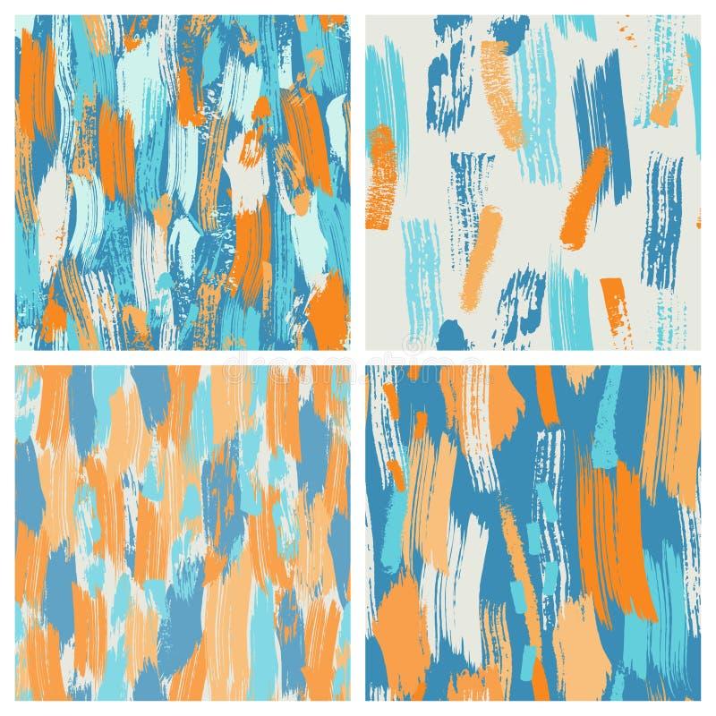 套四在明亮的颜色的无缝的难看的东西刷子样式 抽象时髦背景 时髦背景用手 库存例证