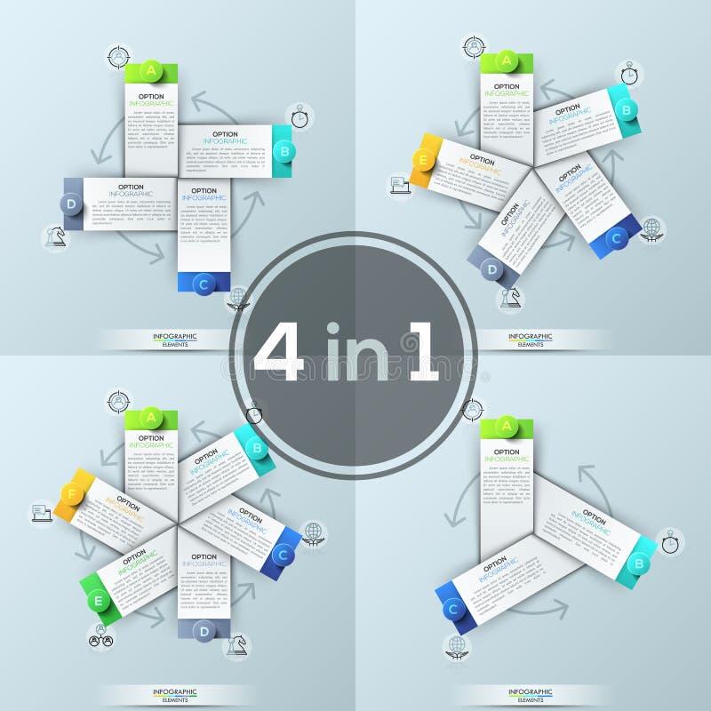 套四块创造性的infographic设计模板, 3, 4, 5,在圈子安置的6个长方形元素连接用 库存例证