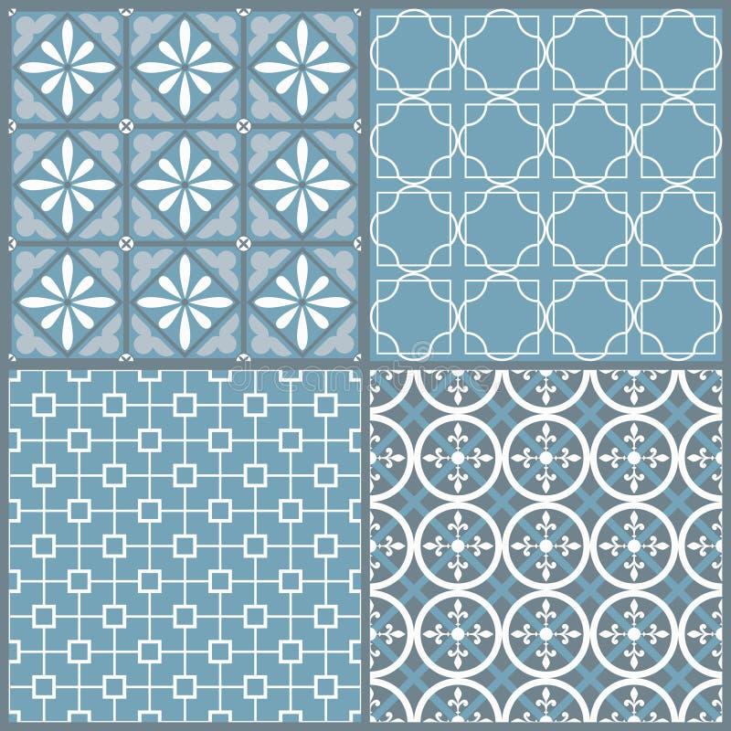 套四无缝的几何样式 向量例证