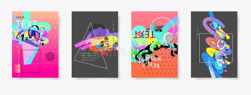 套四最小的艺术性的盖子设计抽象背景 向量例证