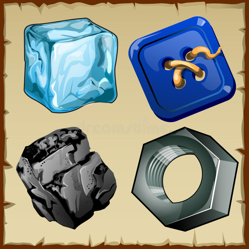 套四枚项目、冰、按钮、煤炭和坚果 皇族释放例证