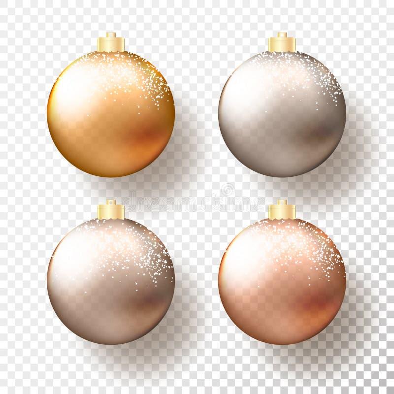 套四现实圣诞节或新年透明中看不中用的物品,球形或者球用金属金子和银不同的树荫  皇族释放例证
