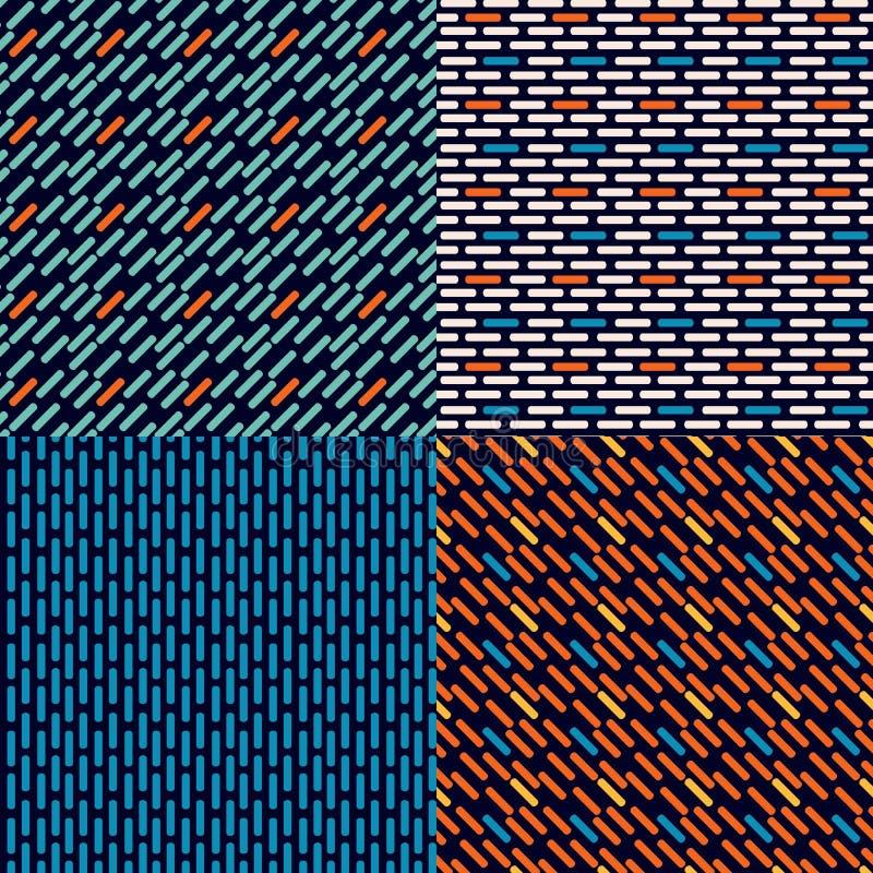 套四简单的抽象无缝的传染媒介砖  库存例证