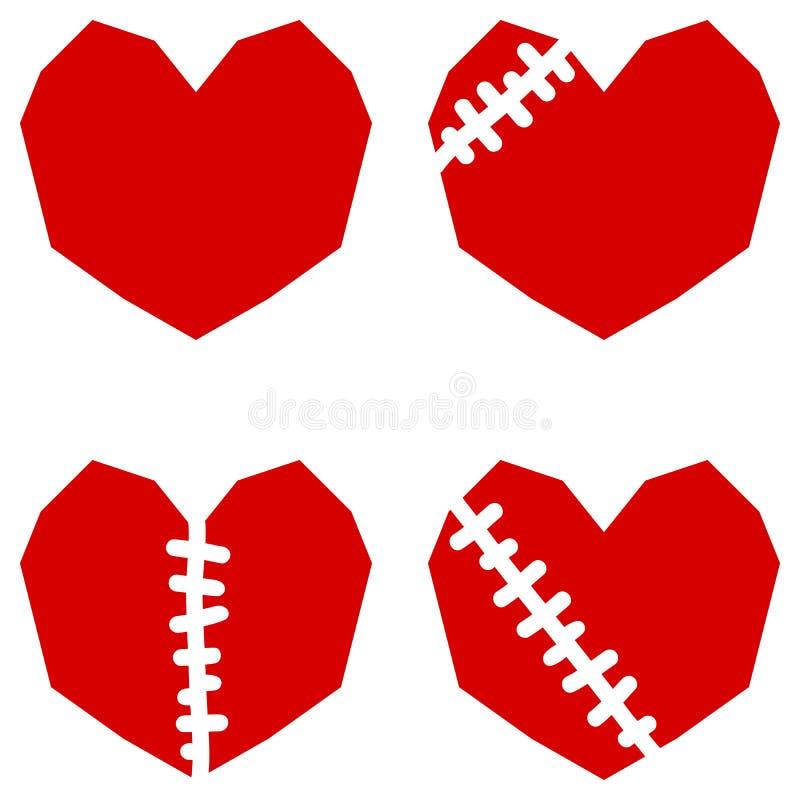 套四红色心脏以伤痕 皇族释放例证