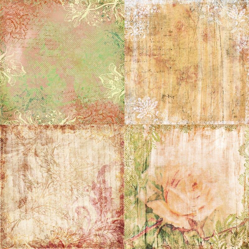 套四葡萄酒花卉破旧的背景 免版税库存图片