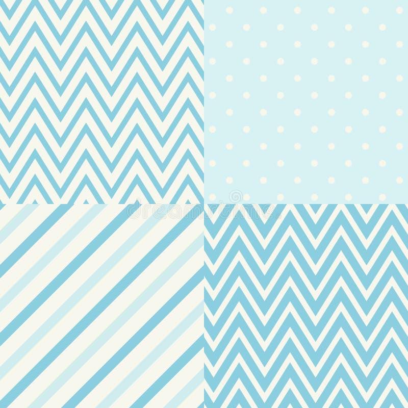 套四蓝色和白色无缝的几何样式 也corel凹道例证向量 向量例证