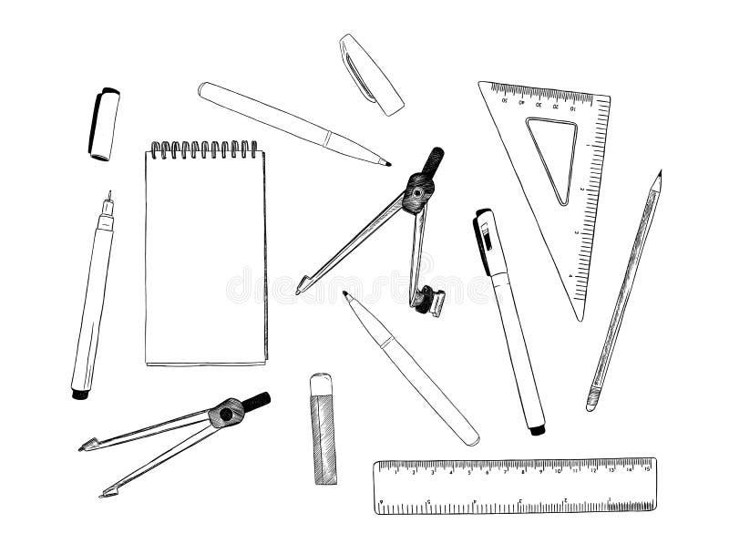套固定式,手凹道元素剪影传染媒介 向量例证