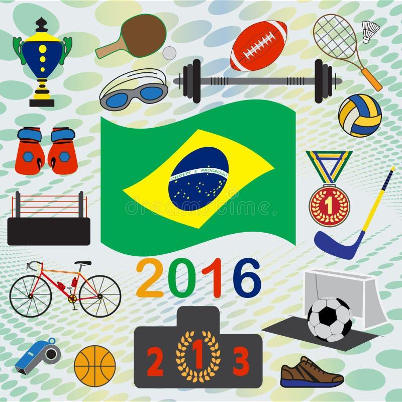 套国民和体育simbols 向量例证