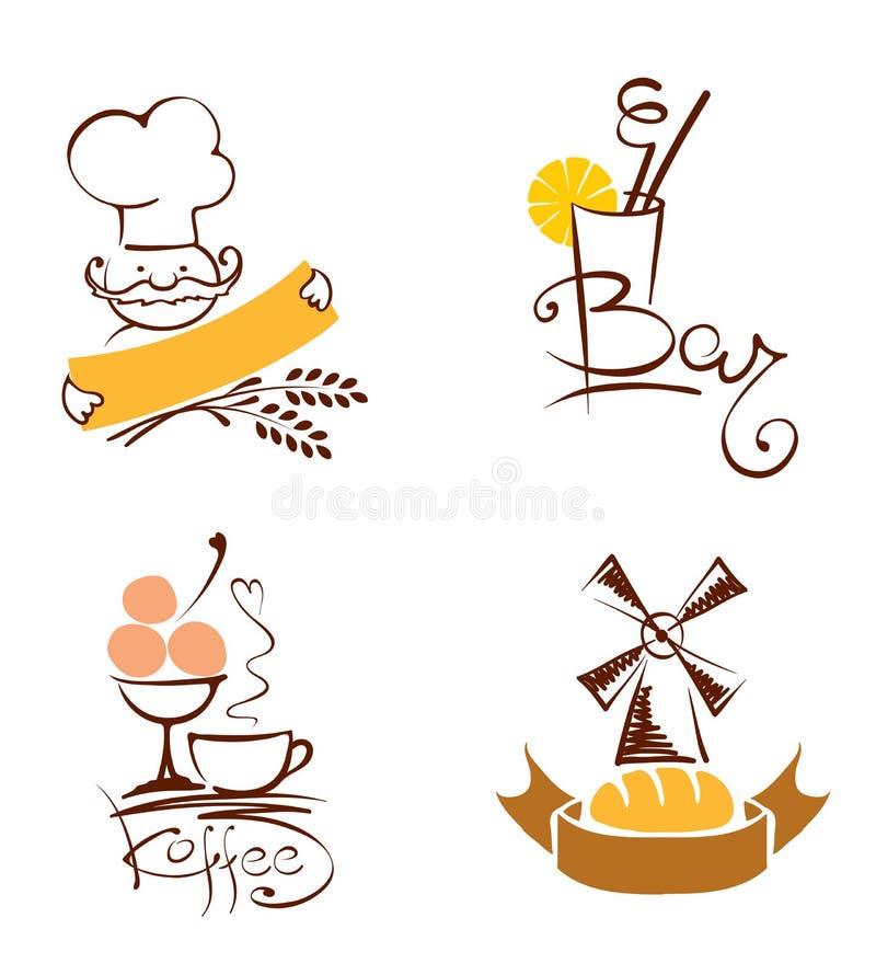 套图片-咖啡馆和面包店 库存例证