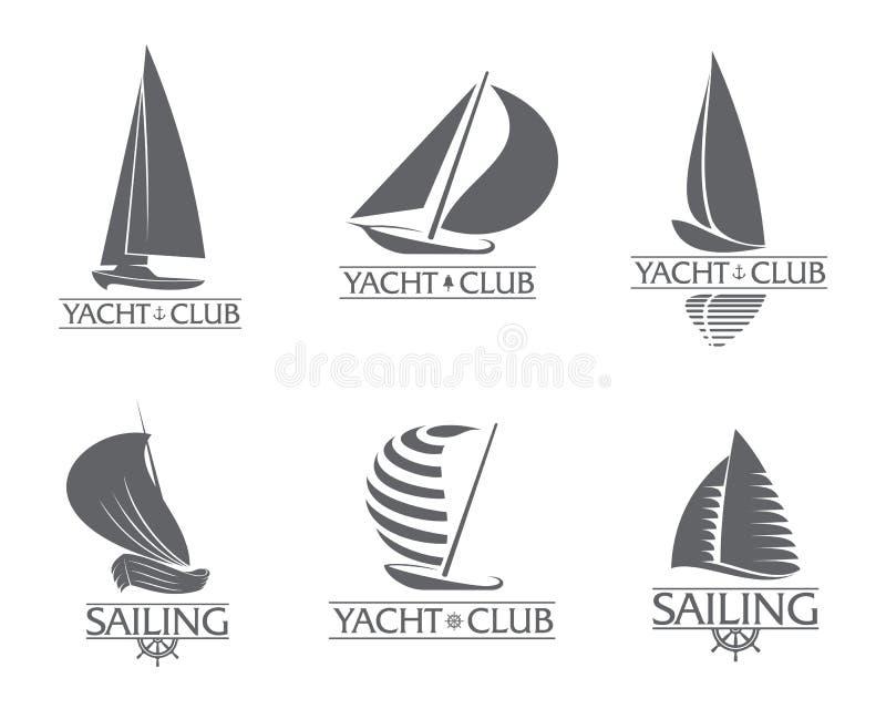 套图表游艇俱乐部,航行体育商标模板 库存例证