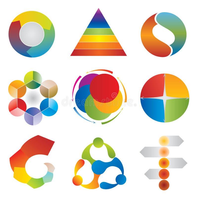 套图解表象-轮子-金字塔-圈子-箭头 皇族释放例证