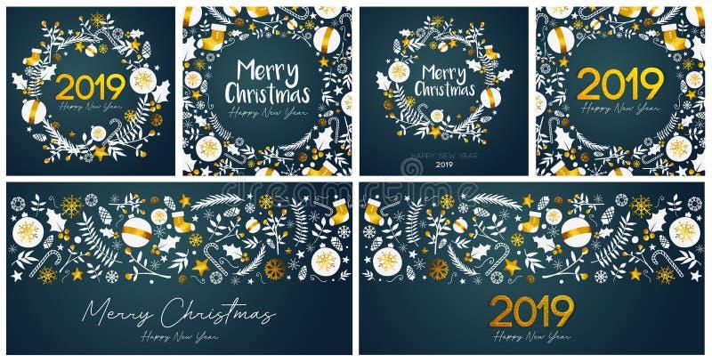 套圣诞快乐和新年快乐卡片模板 皇族释放例证