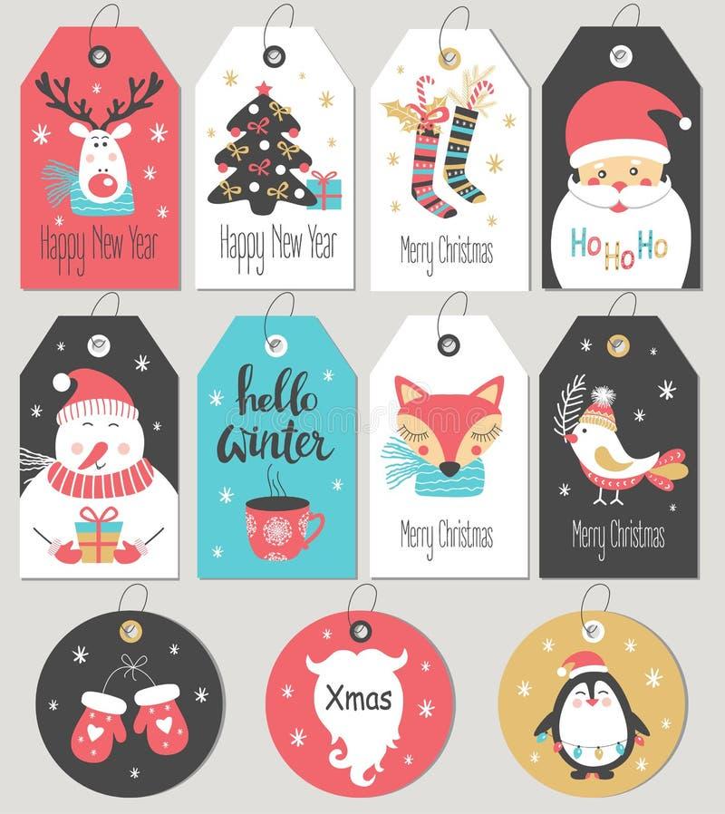 套圣诞快乐和新年礼物标记和卡片 库存例证