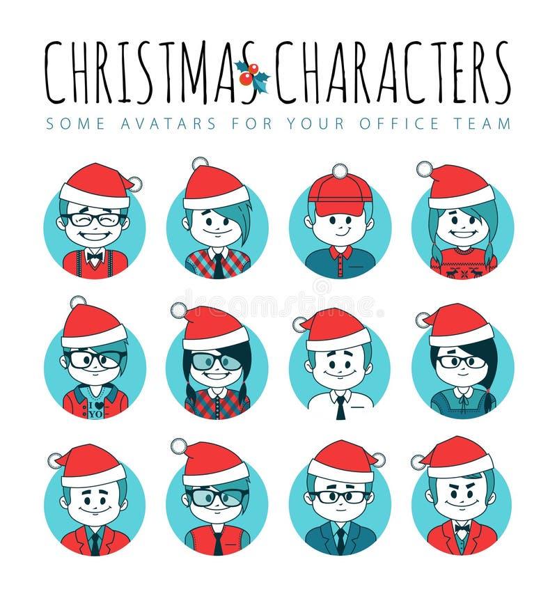 套圣诞节具体化您的办公室队 汇集红色圣诞老人帽子的办工室职员 信息业 不同的行业 向量例证