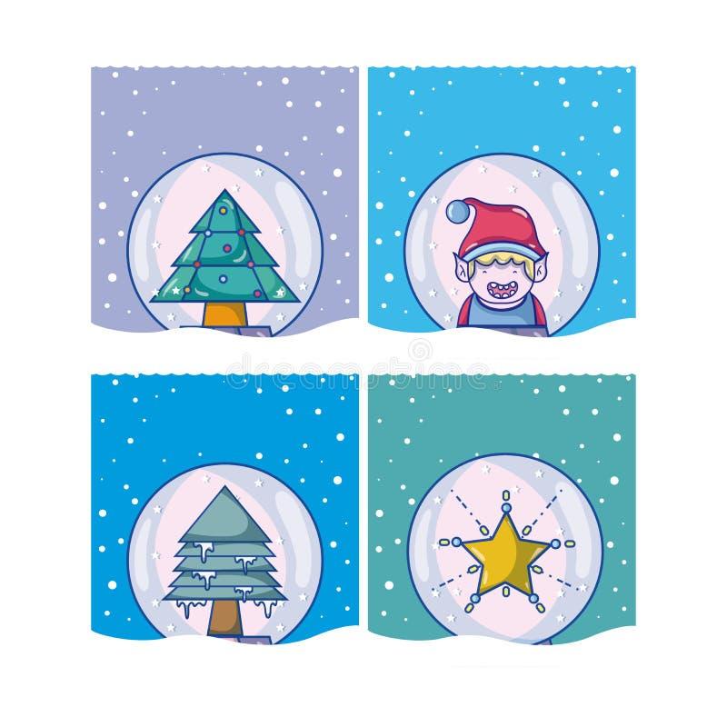 套圣诞节动画片 库存例证