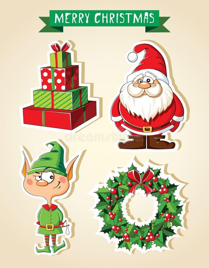 套圣诞节动画片贴纸 皇族释放例证