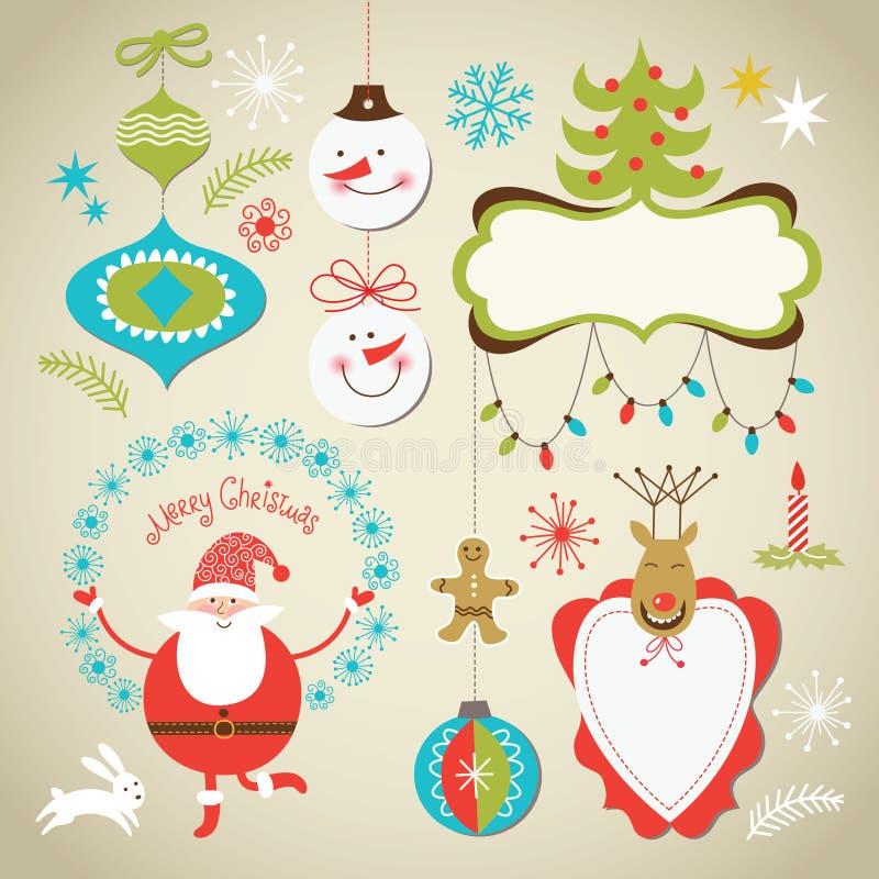套圣诞节和新年度要素 皇族释放例证