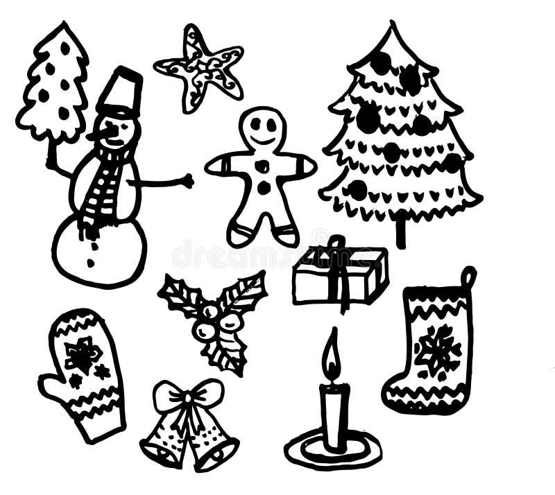 套圣诞节和新年元素手拉的剪影刷子孤立例证 皇族释放例证