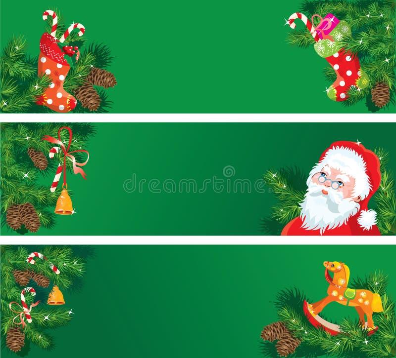 套圣诞节和新年水平的横幅w 库存例证