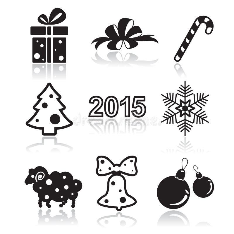 套圣诞节和新年平的象 库存例证