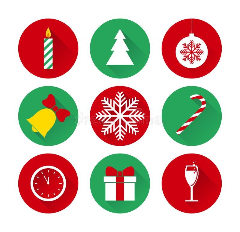 套圣诞节和新年平的象 向量例证