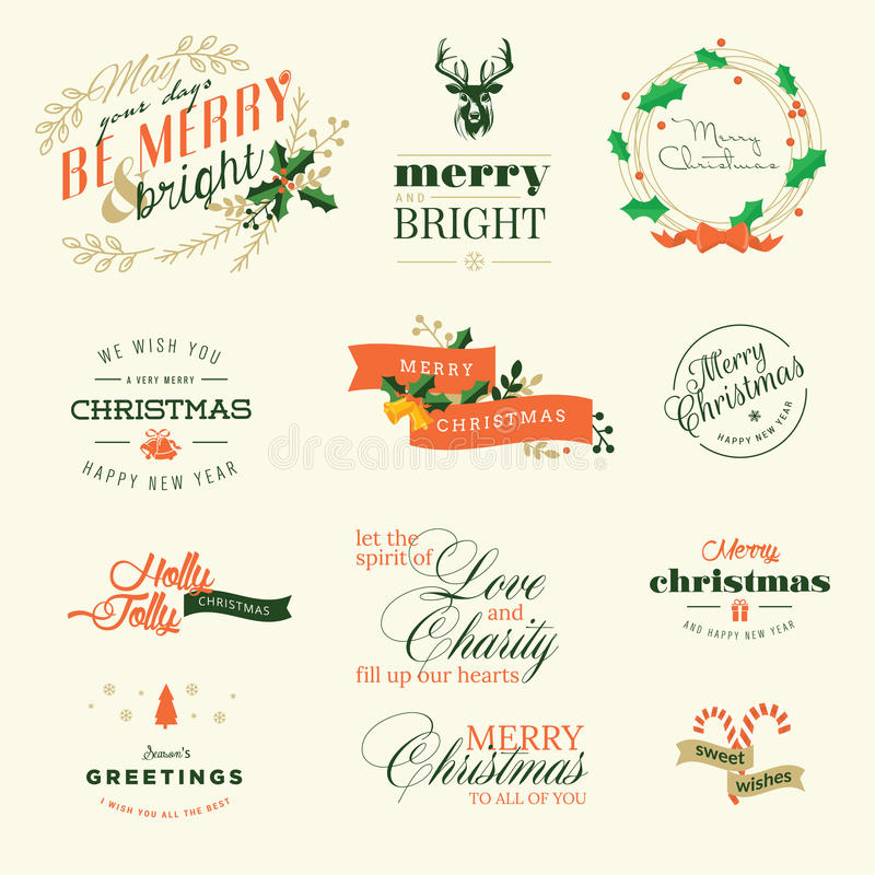套圣诞节和新年的葡萄酒元素贺卡 向量例证
