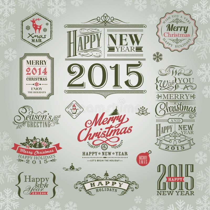 套圣诞节和新年设计元素 向量例证