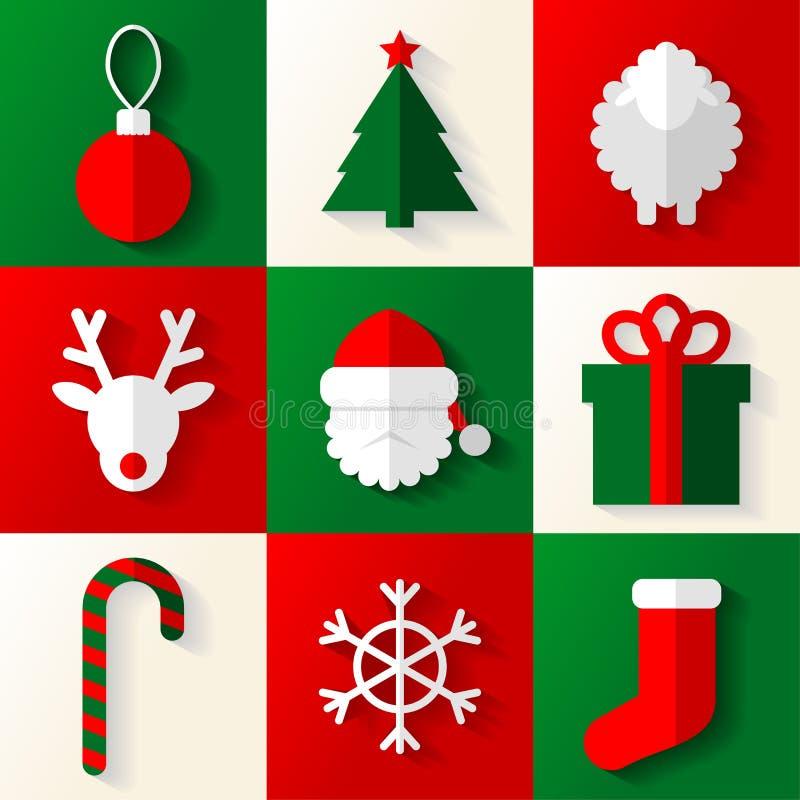 套圣诞节和新年象 向量例证