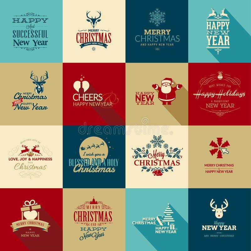 套圣诞节和新年greetin的元素 向量例证