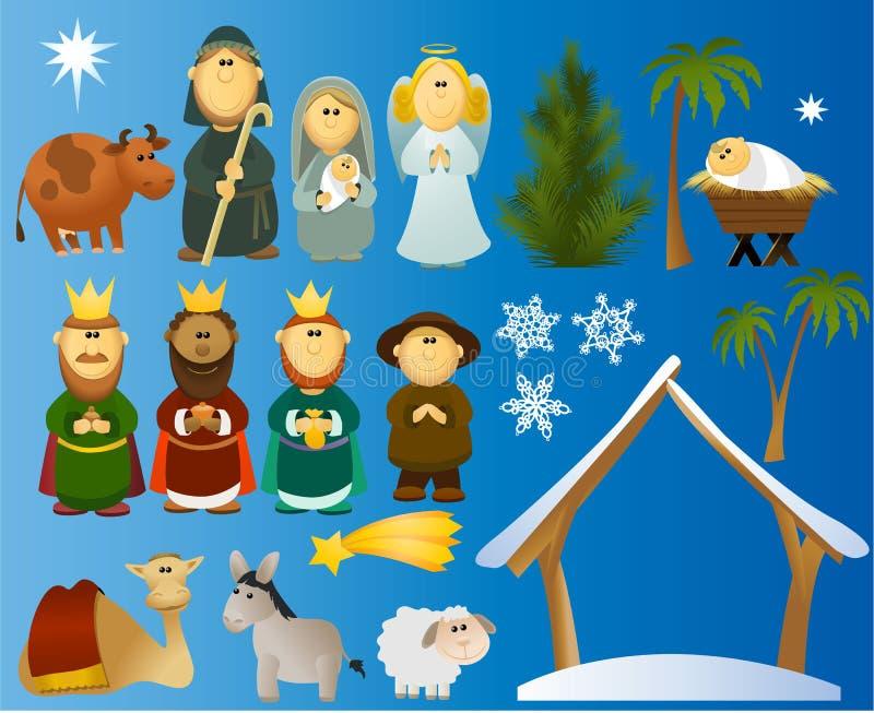 套圣诞节场面元素 向量例证