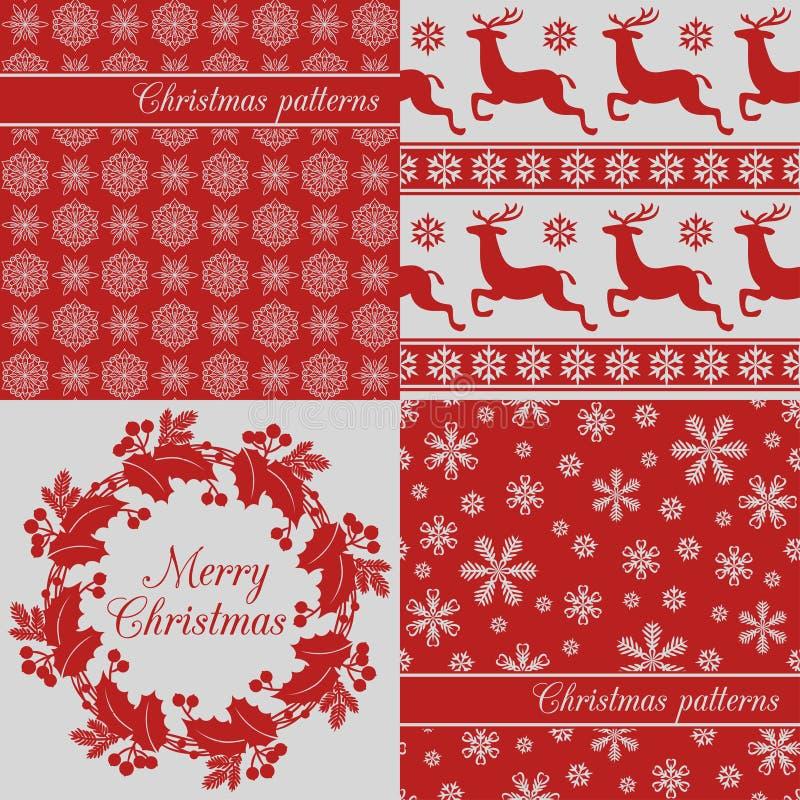 套圣诞节无缝的背景,红色 库存例证